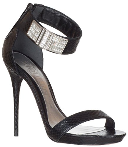 Alexander McQueen Women's Black Python Snakeskin Ankle Strap Crystals Sandals Heels Shoes, 8, Black