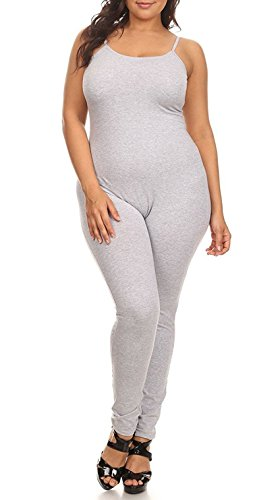 (The Classic Womens Spaghetti Strap Catsuit Bodycon One Piece Jumpsuit Playsuit (1XL, Grey))