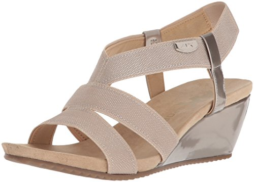 Anne Klein AK Sport Women's Cabrini Wedge Sandal, Natural Silver/Taupe Synthetic, 7 M US