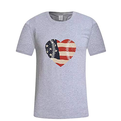 (Zlolia Men's Heart Shaped American Flag Print T-Shirt Round Neck Muscle Build Tactical Tee New July 4th Patriotic Tops)