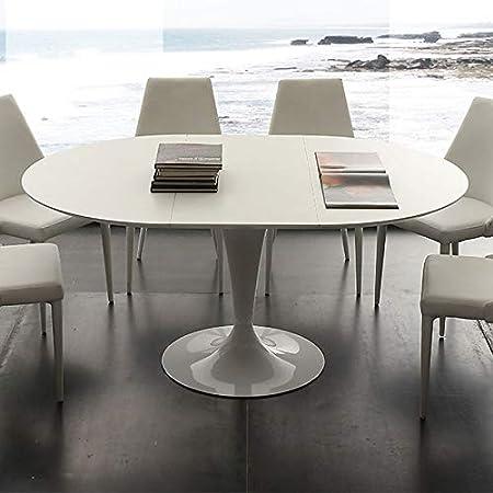 M-029 Table à Manger Ronde Blanche avec rallonge Cesario ...