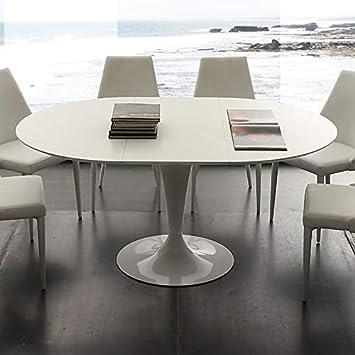 Table A Manger Ronde Blanche.M 029 Table A Manger Ronde Blanche Avec Rallonge Cesario