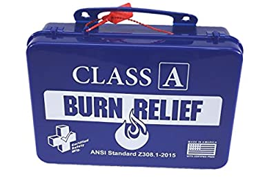 Certified Safety K616-017 18PB Class A First Aid Burn Kit, ANSI Z308.1-2015, Plastic Case, Blue by Certified Safety MFG