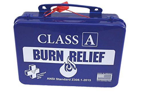 Certified Safety K616-017 18PB Class A First Aid Burn Kit, ANSI Z308.1-2015, Plastic Case, Blue ()