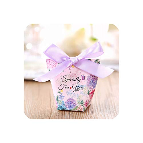 Wedding Candy Chocolate Box Wedding Candy Box with Hand Gift Box Favours Party Gift Boxes Supplies,Purple,100 Pcs,4.5X4.8X8Cm]()