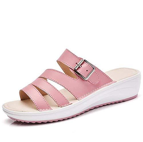 0c3ec8f2192e0e Talons Chaussures Cuir Blanches Taille Pour 39 À coloré D'été Compensées  Sandales En Dames Rose ...