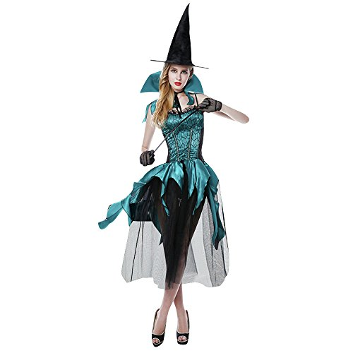 Frawirshau Women's Sexy Witch Costume Halloween Cosplay Dress With Hat Black Blue S-M (Sexy Witch Halloween)