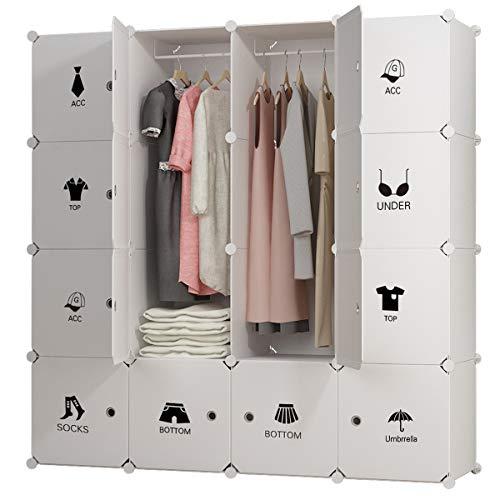 White Wardrobe Closet (KOUSI Portable Clothes Closet Wardrobe Bedroom Armoire Dresser Cube Storage Organizer, Capacious & Customizable, White, 10 Cubes&2 Hanging Sections)