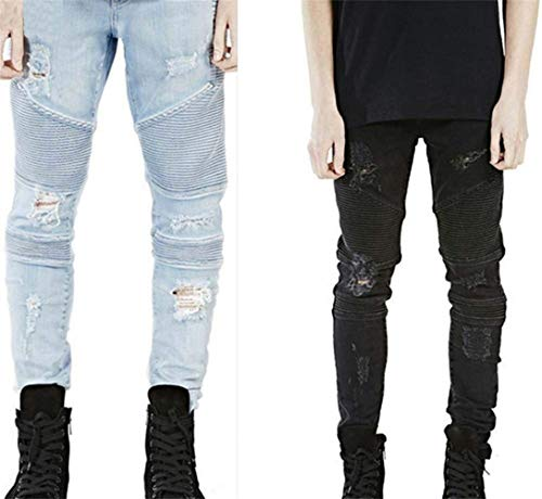 Nero Design Fessura Mens Giovane Denim Skinny Jeans Ginocchio Strappo Yasminey Stretch Allo Distressed Uomo Pantaloni Fashion qwzSRHZH