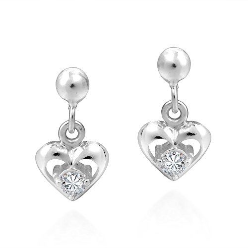Tiny Heart Cubic Zirconia .925 Sterling Silver Post Drop Dangle Earrings