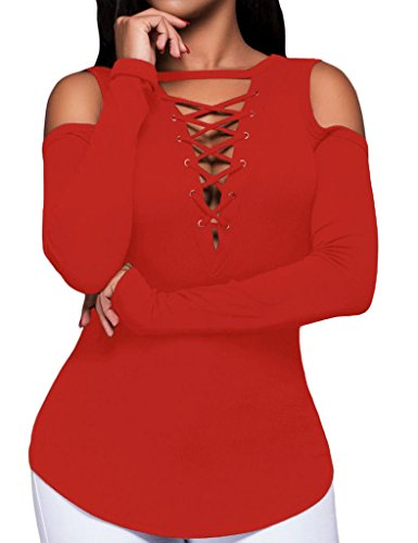 Tiksawon Women Sexy Long Sleeve Cut-out Shoulder Ribbed Party Top L Red (Cheap Sexy School Girl Outfits)