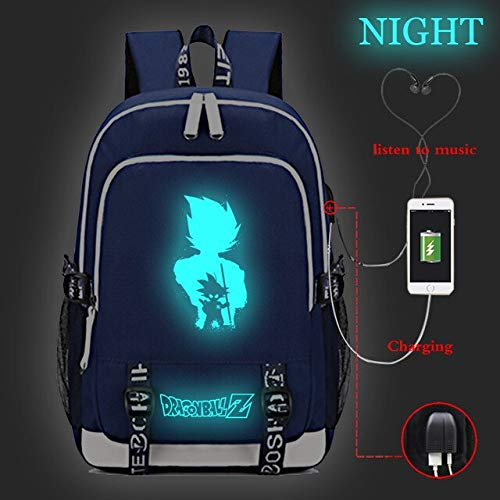 Anime Dragon Ball Backpack Teenager Boys Girls Schoolbag Student Book Bag Travel Bbackpack Luminous USB Charging Backpack Girl with The Dragon Tattoo Book by SARIN EASH