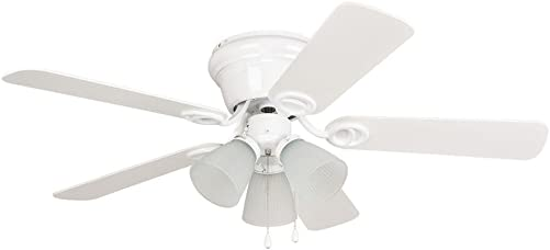 Litex WC42WW5C3F Wyman Collection 42-Inch Ceiling Fan with Five Reversible Classic White Whitewash Blades and Three Light Kit with Frosted Glass