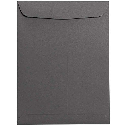 "JAM Paper 9"" x 12"" Open End Catalog Envelopes with Gum Closure - Dark Gray - 10/pack"