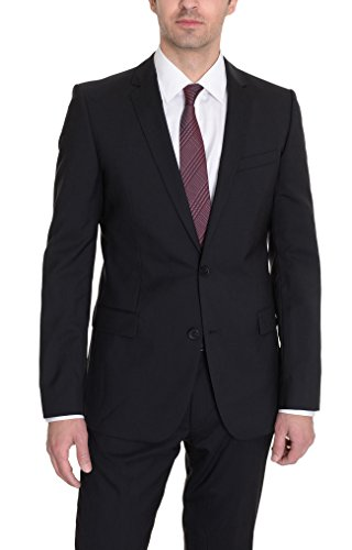 Hugo Boss Aikonen/HOL Slim Fit Solid Black Two Button Wool Suit