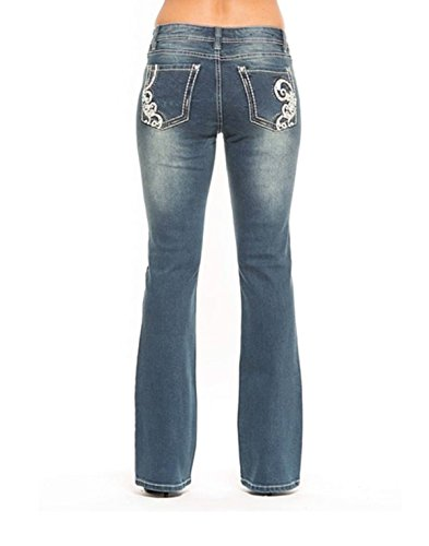 Rose Royce Bootcut Women's Faded Distressed Designer Statement Jeans, by Premium Red Label London Denim (Galaxy Shelby) (29)