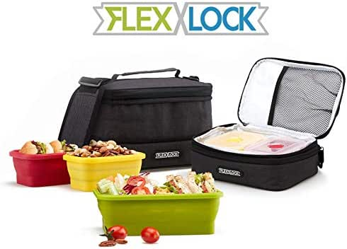 FLEX&LOCK Collapsible Lunch box with Insulated lunch bag-3 Silicone Prep box, Oxford Fabric cooler lunch bag with slim lunch container Adjustable Shoulder Strap & bento boxes for Adults office School