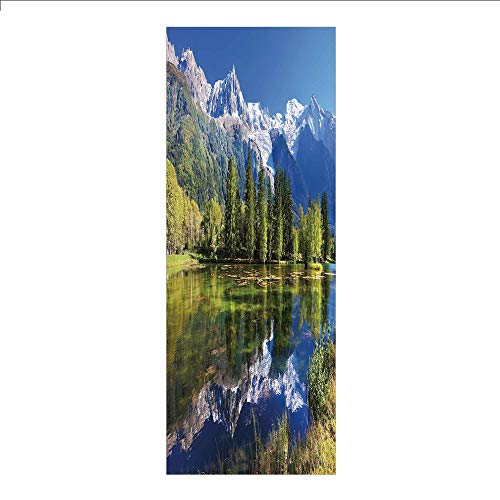 3D Decorative Film Privacy Window Film No Glue,Outdoor,Snowy Mountains Evergreen Spruce Reflected in Lake City Park Chamonix France,Blue Green White,for Home&Office
