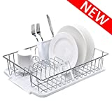Modern Kitchen Metal Wire Chrome Finish Dish Drying Rack, Dish Rack with Drainboard and Cutlery Cup Utensil Organizer Holder- 16.5' x 12.2' x 3.9', White