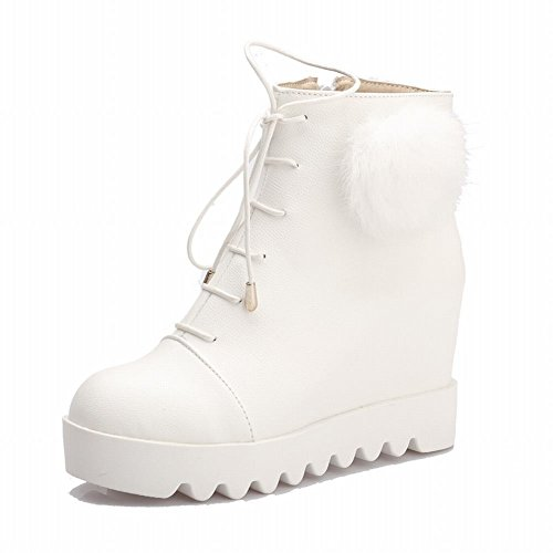 Carolbar Womens Lace up Pom-poms Cute Christmas Gift Snow Fashion Hidden Wedge Heel Winter Short Boots White h6J47A