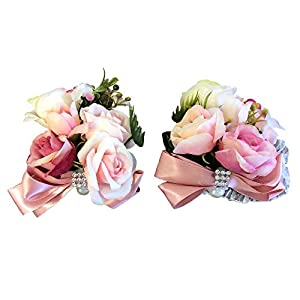 Abbie Home Prom Wrist Corsage Boutonniere Set for Suit Rose Flower Bow Rhinestone Décor for Party Wedding (Pink) 44