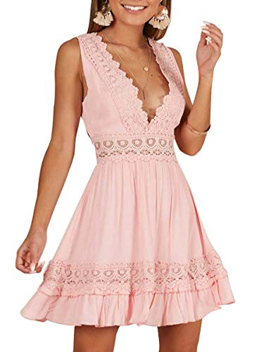 Women Party V Neck Pink Dresses Mode CA Backless Ruffle Mini 5wqZgqxYt