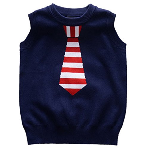 Happy Cherry Boys Cotton Cardigan Round Neck Strip Tie Knit Sweater Vest Navy (Sweater Vest Tie)