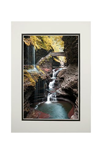 - Watkins Glen State Park, New York - Waterfall Scene (11x14 Double-Matted Art Print, Wall Decor Ready to Frame)