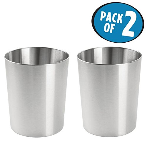 mDesign Round Metal Small Trash Can Wastebasket, Garbage Container Bin for Bathrooms, Powder Rooms, Kitchens, Home Offices - Pack of 2, Durable Brushed Stainless - Stainless Steel Round Basket