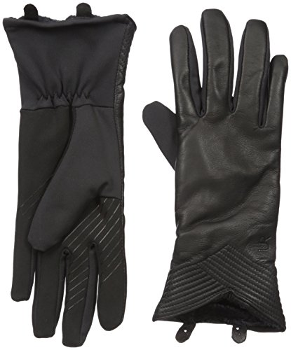 U|R Women's Quilted V-Shaped Hem Touchscreen Glove, Black, Small/Medium