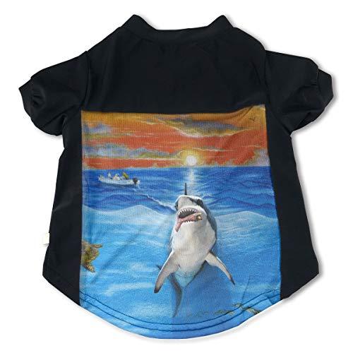 Fbve5dg Cosy 3D Feral Shark Mural Pet T Shirts for Doggie Moggy M