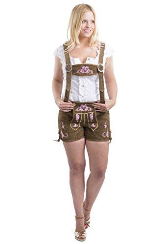Damen Emma Trachten Lederhosen kurz braun oder pink - Trachtenlederhose Hotpants Lederhose (44, pink)