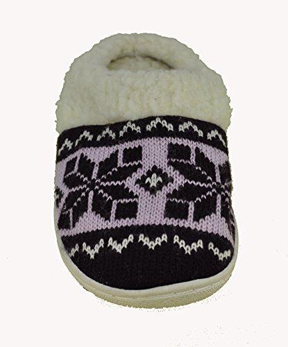5 Fleece Woven Womens Slipper Pattern Winter Tone Two size to 10 Lining Purple Faux y6tfcPf
