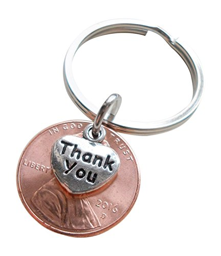 Thank You Charm Layered Over 2016 Penny Keychain, Employee Appreciation Gift, Lucky to Work with You!
