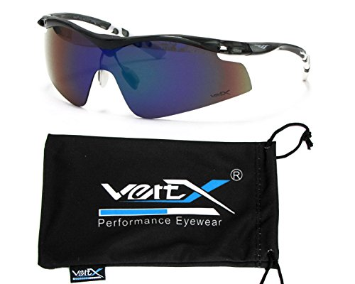 Sunglasses Affordable Revo (VertX Men's Polarized Sunglasses Sport Cycling Outdoor – Translucent Charcoal and White Frame – Green Lens)