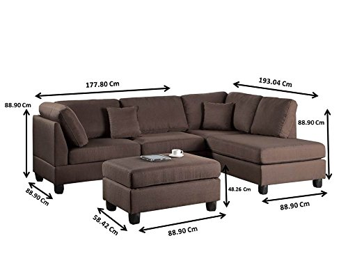 Poundex F7608 Bobkona Dervon Linen-Like Left or Right Hand Chaise Sectional with Ottoman Set, Chocolate