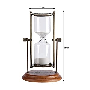 Fdit 15 Minutes Hourglass Metal Glass Rotating Sand Timer with Wooden Base for Gifts Toy Home Office Desktop Decor (Color: Metal)