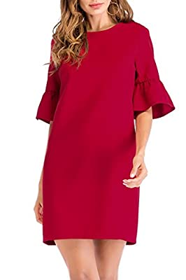 SUNNOW Women's Bell Sleeve Red Shift Tunic Cocktail Party Dresses with Tulip Sleeve