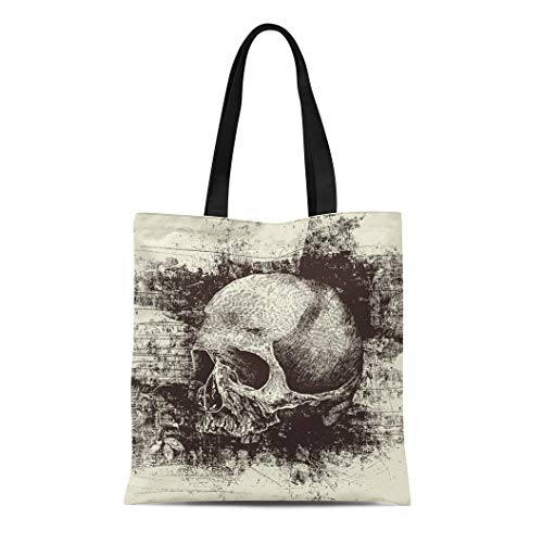Semtomn Canvas Bag Resuable Tote Grocery Adorable Shopping Portablebags Gothic Skull and Metal Rock Sketch Horror Natural 14 x 16 Inches Canvas Cloth Tote -