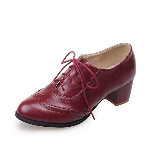 AgooLar Damen Niedriger Absatz Rein Schnüren Spitz Zehe Pumps Schuhe, Rot, 40