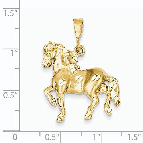 14 Carats Pendentif Cheval :  33,1 x 24,5 mm)-JewelryWeb
