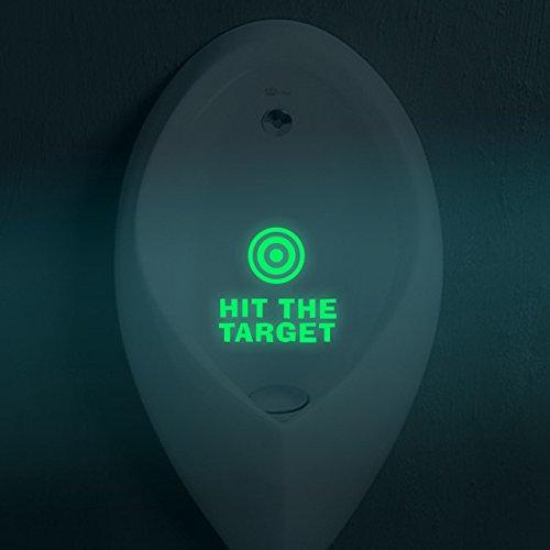Luminous Toilet Sticker - 1 Piece HIT THE TARGET Toilet Stickers Waterproof Luminous Wallpaper Toilet Seat Stickers Reminder Home Decoration DIY Art Decals