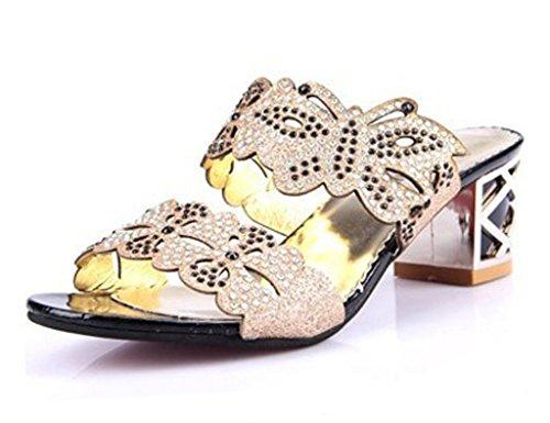 Mine tom Mujeres Forme Zapatos Imitación Diamante Verano Sandalias Flor De Mariposa Dedo Pío Los Deslizadores Negro B