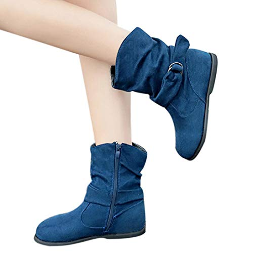 vermers Women Fashion Vintage Style Flat Booties Soft Shoes Women Set of Feet Ankle Boots(US:9.5, Blue)