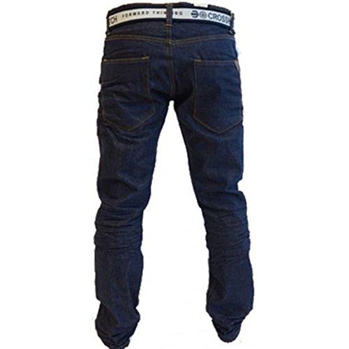 Crosshatch Mens Neue Gamito Straignt Bein Jeans Dunkel Waschen W34- L30