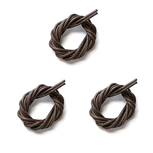 (ITAZERO Round Waxed Shoelaces, Oxford Boots Shoe Laces for Men&Women Brown)
