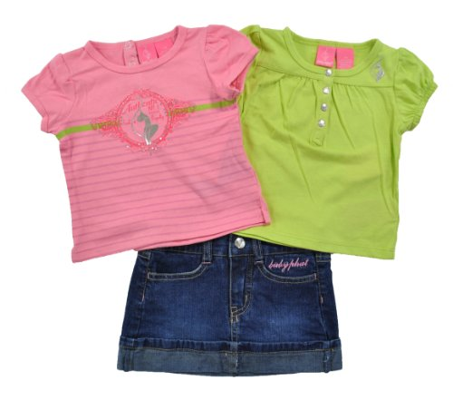 Baby Phat Infant Girls Neon Green & Pink 3Pc Skort Set (12M)