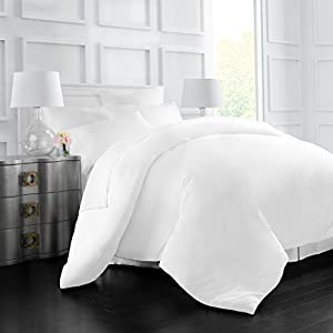 Sleep Restoration Soft Brushed 1800 Series Microfiber Duvet Cover Set - Hotel Quality & Hypoallergenic Duvet Cover with Zippered Closure & Matching Shams - Full/Queen - White