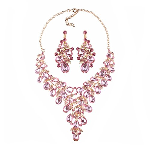 Pink Crystal Drop Jewelry - omylady Women Crystal Jewelry Set Teardrop Rhinestone Statement Necklace and Earrings Sets for Wedding Party (Pink)