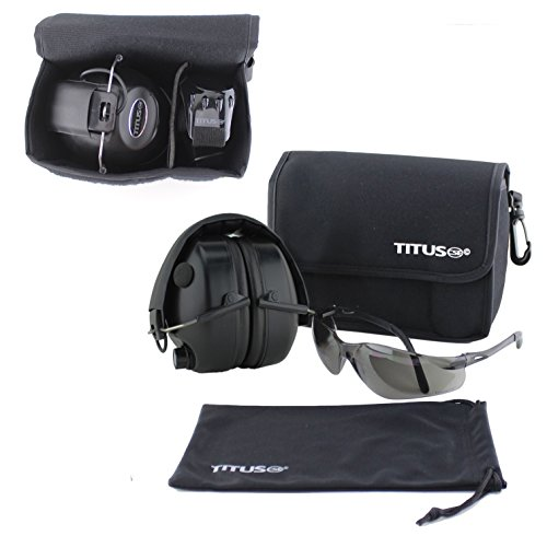 TITUS Earmuff/Glasses Combo – Electronic Noise Cancelling Muffs & G Series Safety Glasses - (EarMuffs, Glasses, and Carrying Case) - Personal Safety, Shooting Gear, Portable - Designer Canada Cheap Glasses